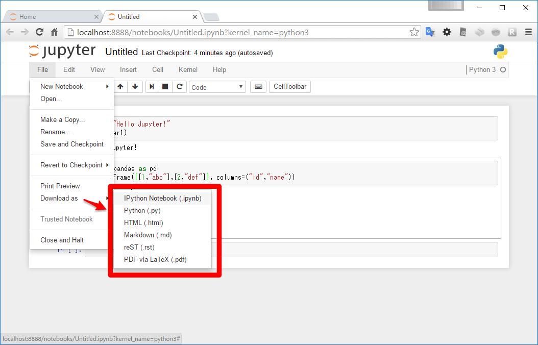 Jupyter Notebook を使ってみよう – Python でデータサイエンス